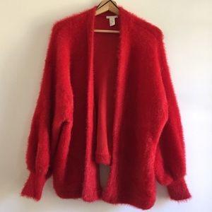 Red Fluffy Fur Cardigan